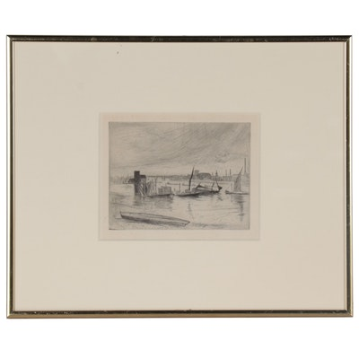 "James Abbott McNeill Whistler Etching ""Battersea Dawn (Cadogan Pier)"""
