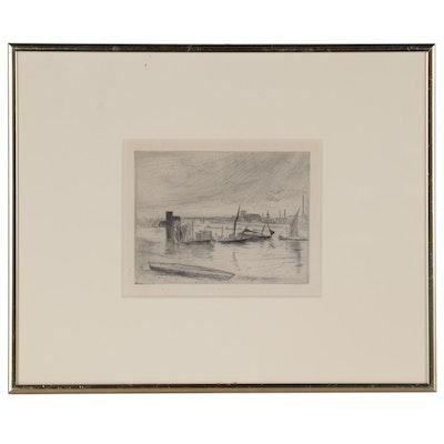 "James Abbott McNeill Whistler Etching ""Battersea Dawn (Cadogan Pier)"""