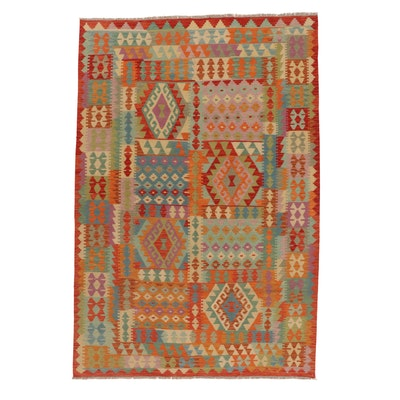 6'7 x 9'10 Handwoven Turkish Village Kilim Rug, 2010s