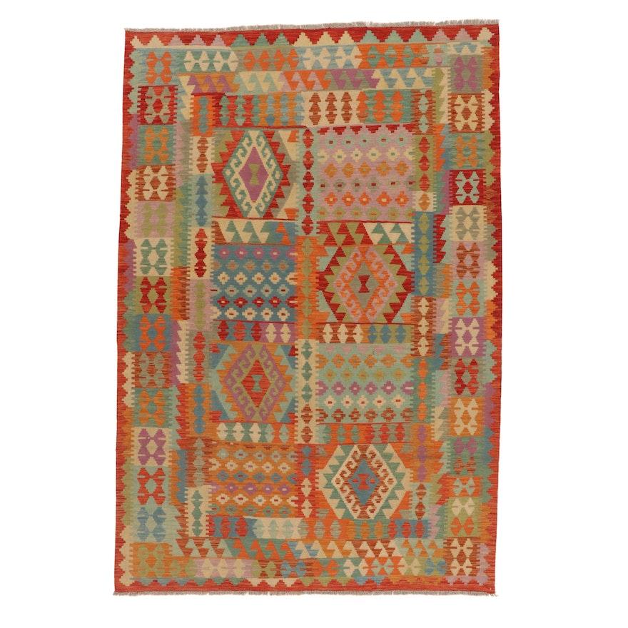 6'7 x 9'10 Handwoven Turkish Village Kilim Rug, 2010s