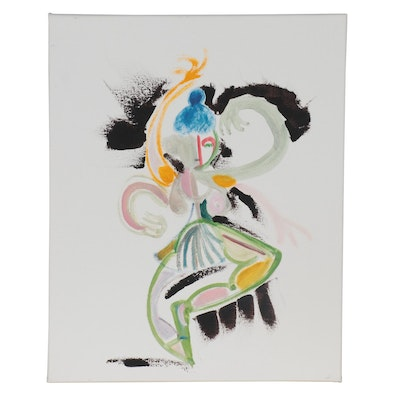 """Philip the Transplant Mixed Media Painting """"Cubist Dancer,"""" 2021"""