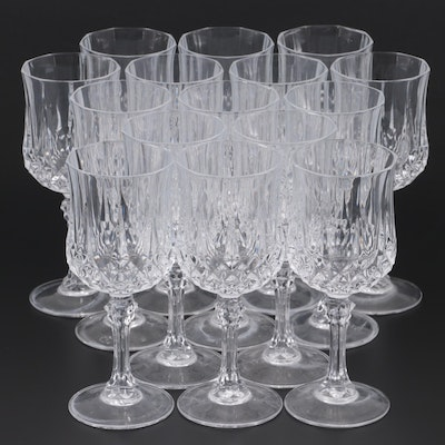 Panel Cut Diamond Crystal Goblets, Mid to Late 20th Century