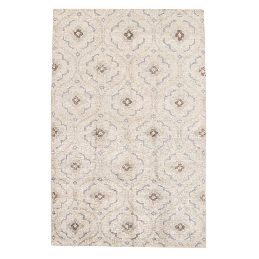 5'3 x 8' Hand-Knotted Indo-Turkish Oushak Bamboo Silk Rug, 2010s