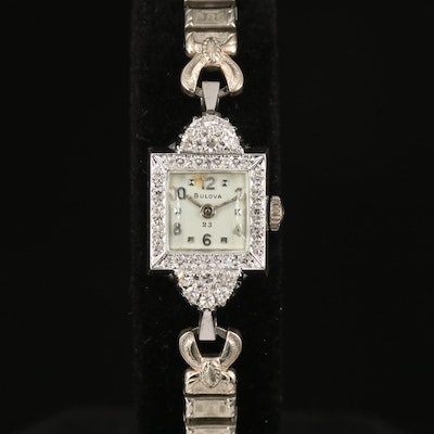 1960s Bulova 14K Gold and Diamond Wristwatch
