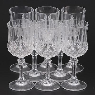 Panel Cut Diamond Crystal Wine Glasses, Late 20th Century