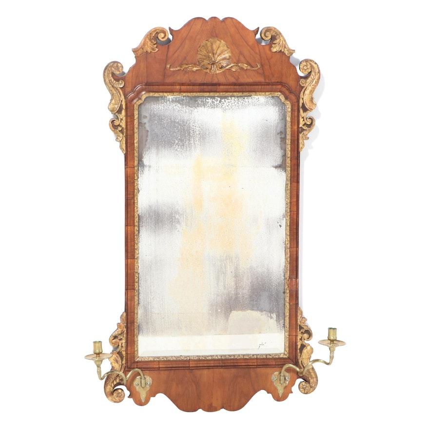 George II Walnut and Parcel-Gilt Girandole Mirror, Mid-18th Century