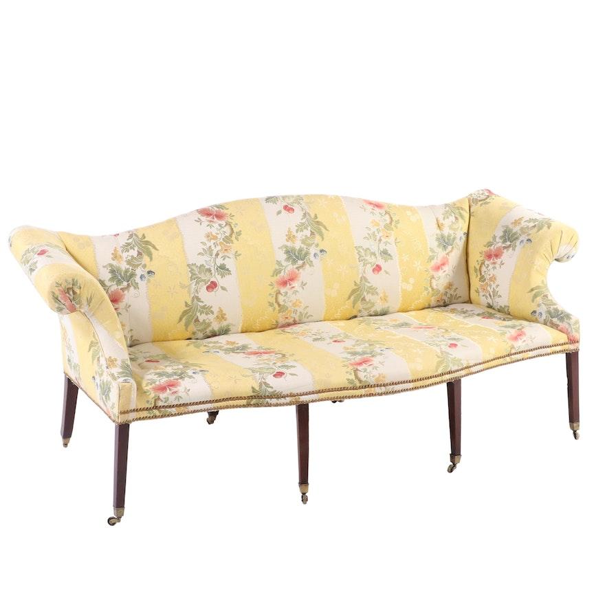 George III Scalamandre Upholstered Mahogny Camel Back Sofa, 18th Century