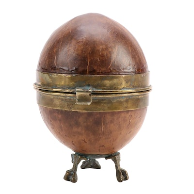 Brass Mounted Claw Foot Coconut Shell Hinged Box, Early to Mid-19th Century