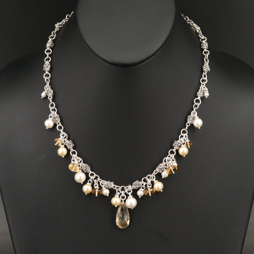 Michael Dawkins Sterling Silver Pearl and Citrine Necklace