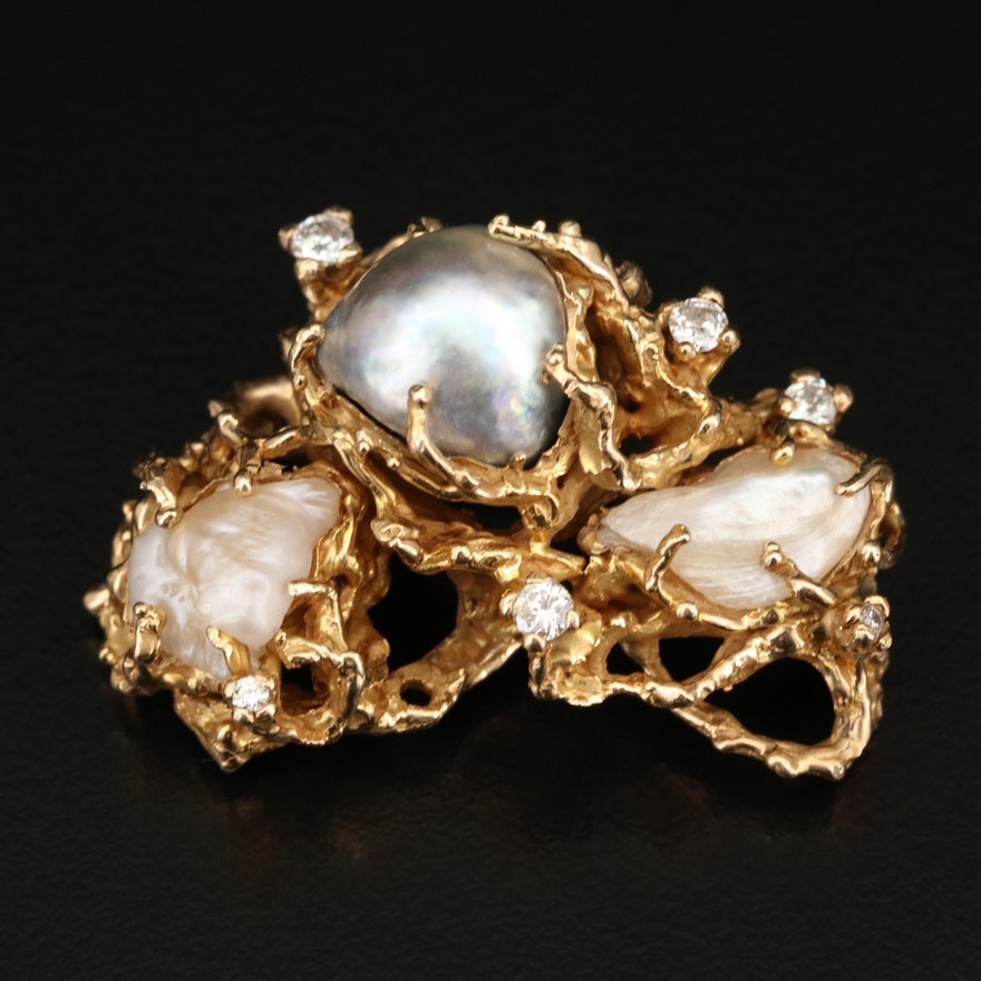 14K Pearl and Diamond Brooch with Biomorphic Design