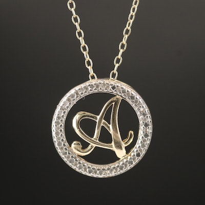 "Sterling Diamond Monogram ""A"" Necklace"