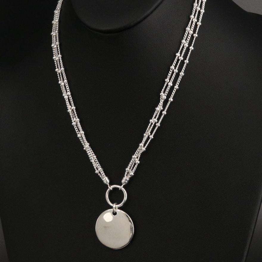 Fine Silver Multi-Strand Necklace with Circle Pendant