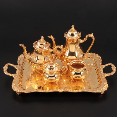 24K Gold Electroplate Coffee and Tea Service, Mid to Late 20th Century