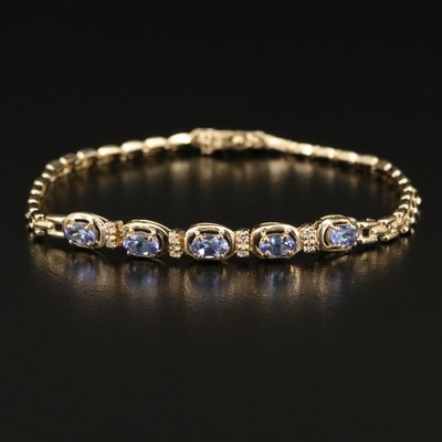 14K Tanzanite and Diamond Link Bracelet