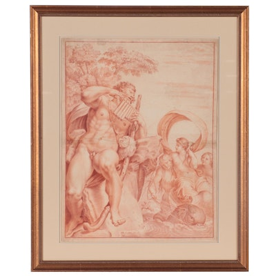 """Sanguine Drawing after Annibale Carracci """"Polyphemus Innamorato"""""""