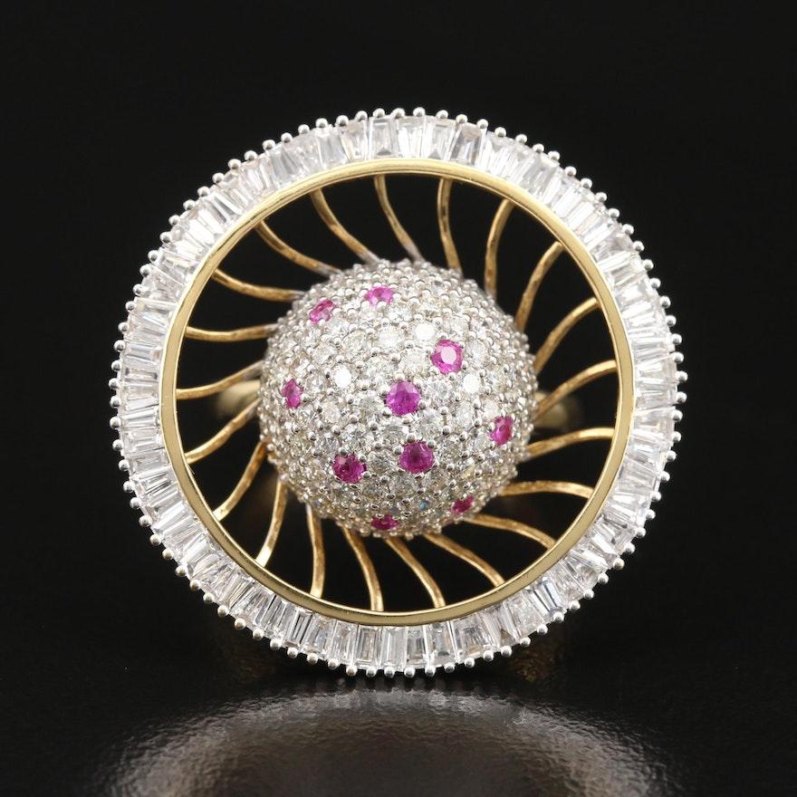 18K 3.60 CTW Diamond and Ruby Pinwheel Ring