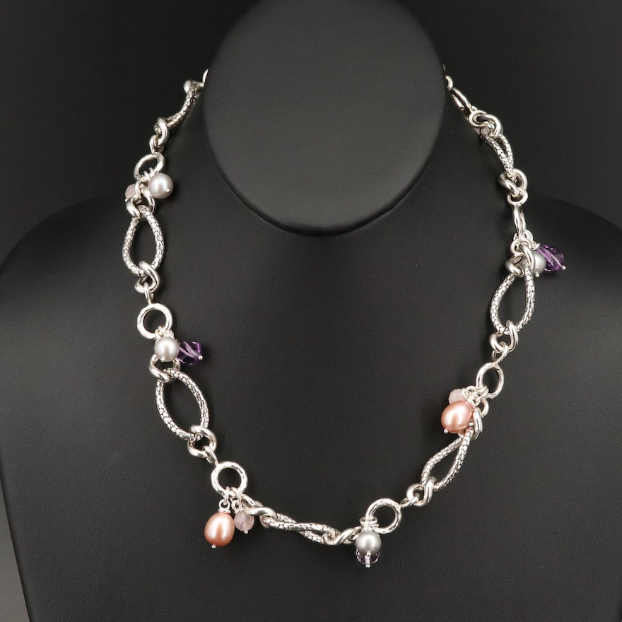 Michael Dawkins Sterling Silver Pearl, Amethyst and Rose Quartz Link Necklace