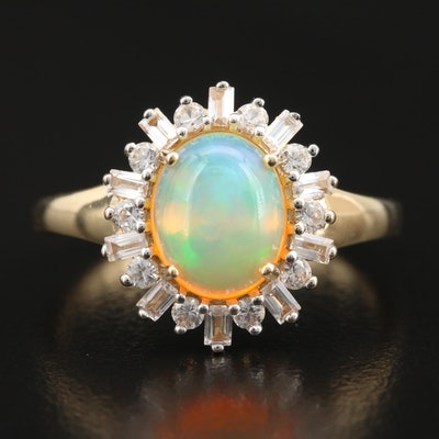 14K Opal and Topaz Ring