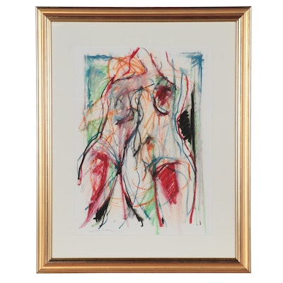 Jack Meanwell Abstract Pastel Drawing, Late 20th Century