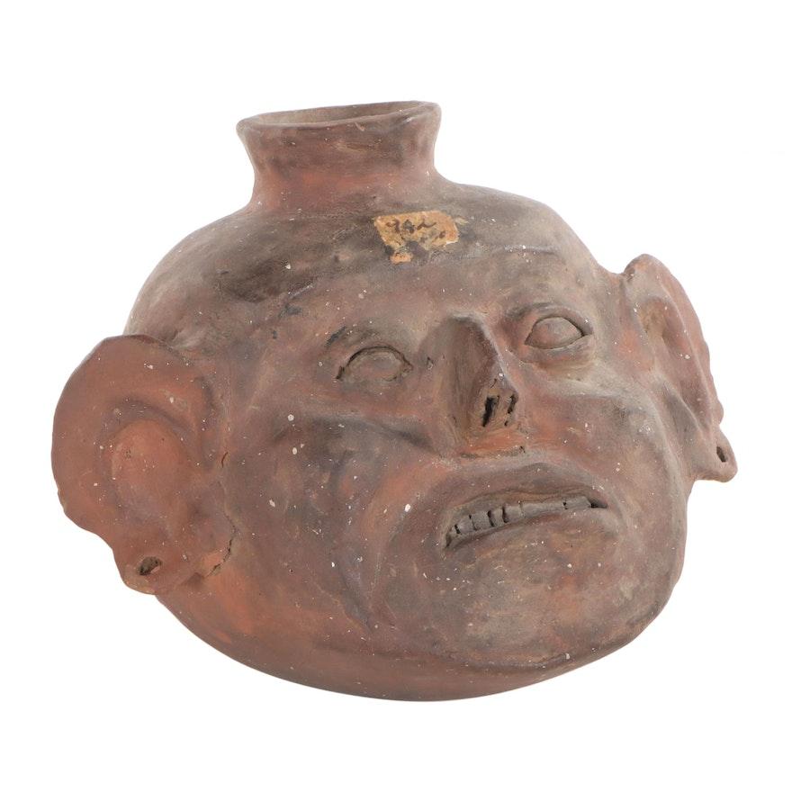 Pre-Columbian Style Terracotta Ceramic Face Jug