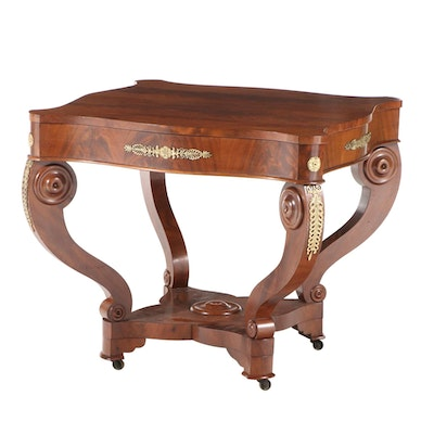 Empire Style Mahogany Center Table with Gilt Metal-Mount Detailing
