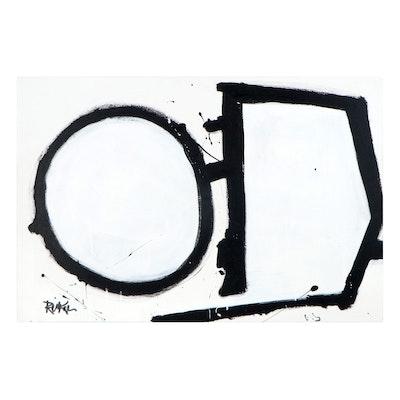 "Robbie Kemper Acrylic Painting ""Black and White Arrow"""