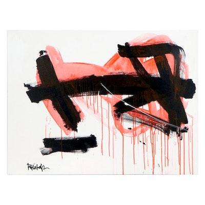 "Robbie Kemper Acrylic Painting ""Orange Wash on Black"""