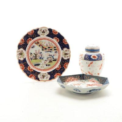 Mason's Ironstone Plate and Other English Imari Jar with Japanese Imari Dish