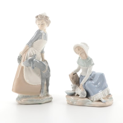 "Nah by Lladró Porcelain Figurines Including ""Milk for the Cat"""