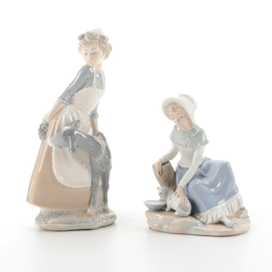"""Nao by Lladró Porcelain Figurines Including """"Milk for the Cat"""""""