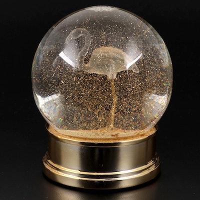 Gilt Metal and Glass Flamingo Snow Globe
