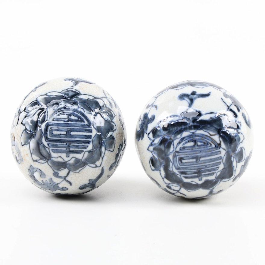 Chinese Blue and White Porcelain Carpet Balls