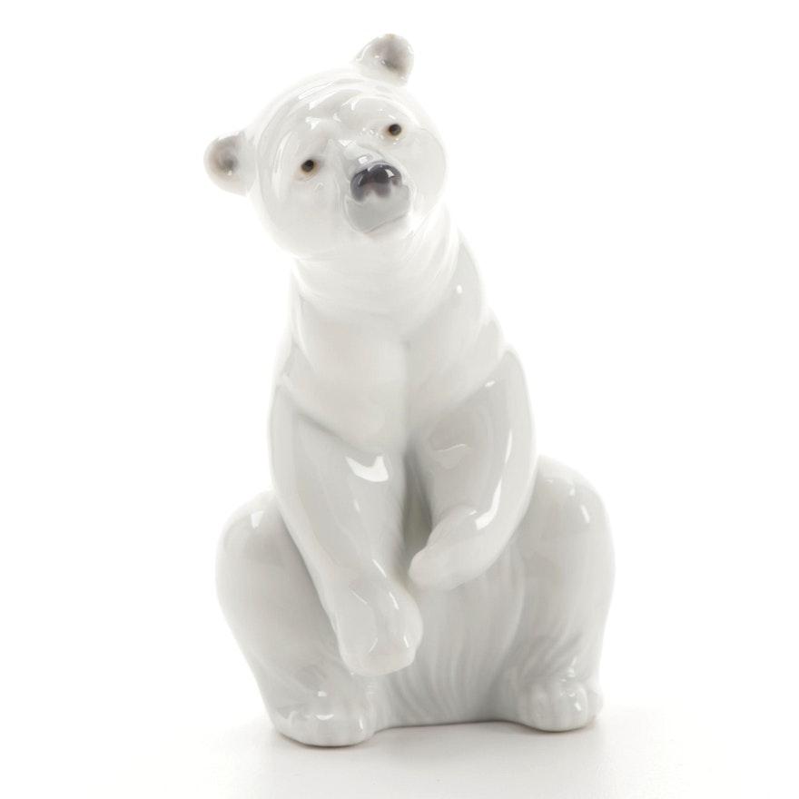 "Lladró ""Polar Bear Resting"" Porcelain Figurine Designed by Juan Huerta"