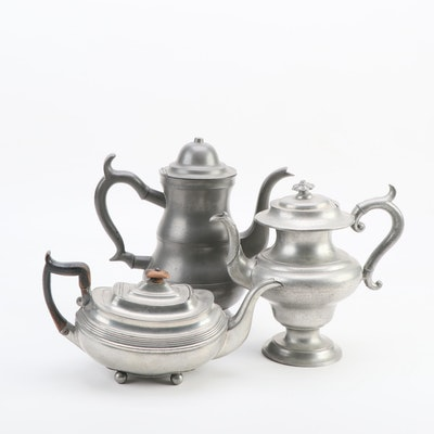 Sellew & Co. of Cincinnati and Other Pewter Tea and Coffee Pots, 19th Century