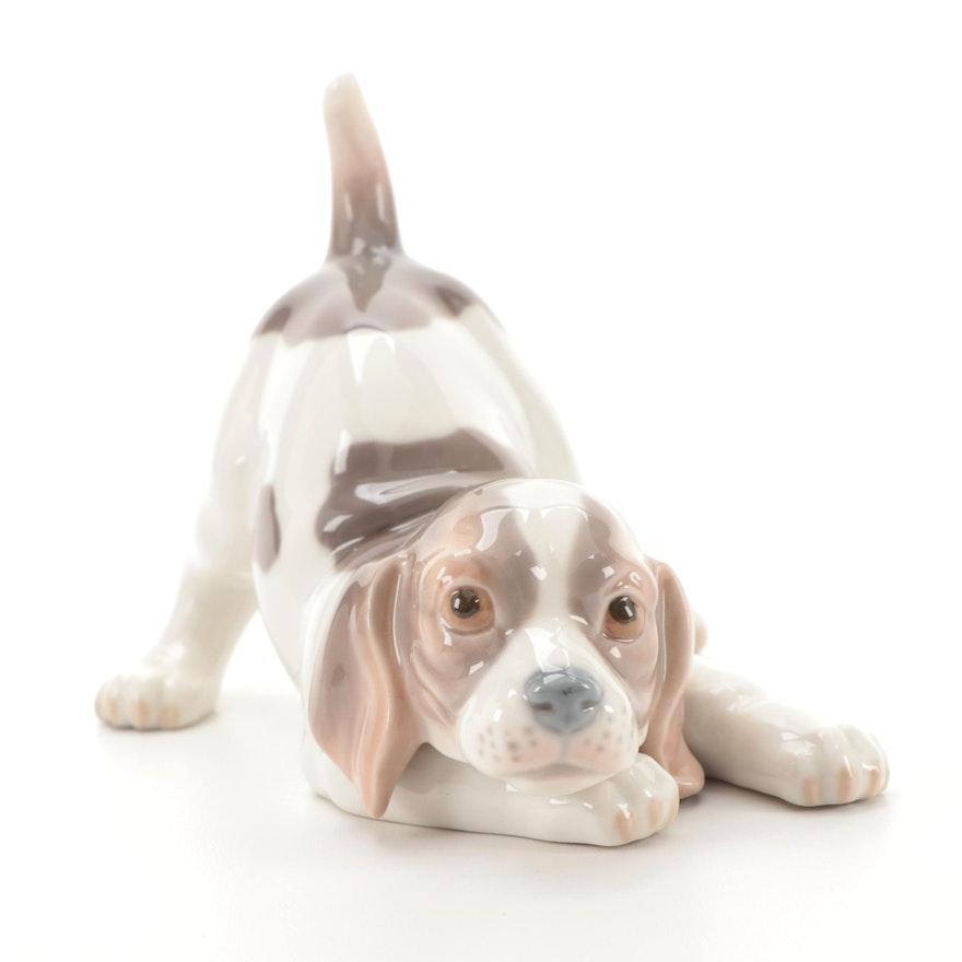 "Lladró ""Playful Puppy"" Porcelain Figurine Designed by Julio Fernández"