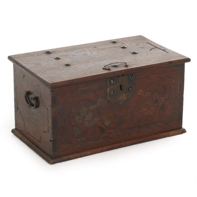 Walnut Marquetry Strongbox, 18th Century