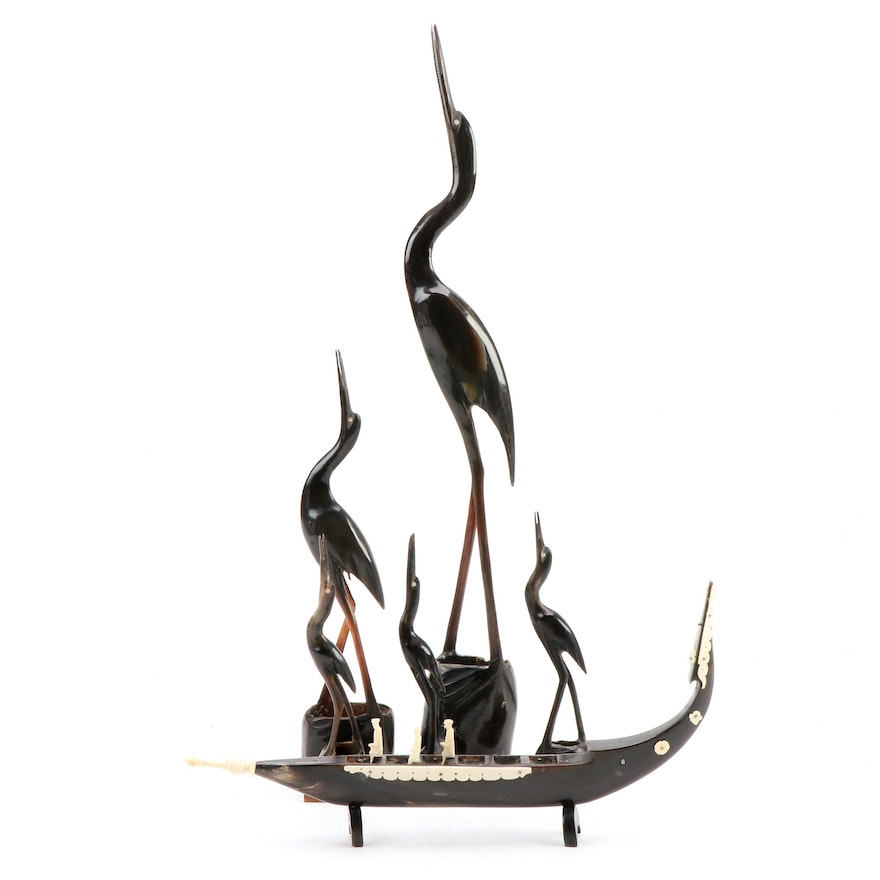 Indian Carved Horn Cranes and Carved Horn and Bone Ship
