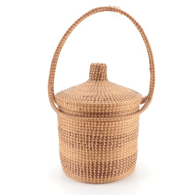 Woven Straw Handled Basket with Lid