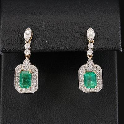 18K Emerald and Diamond Earrings