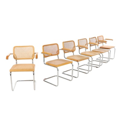 """Marcel Breuer for Thonet Mid Century Modern """"Cesca"""" Metal and Cane Armchairs"""