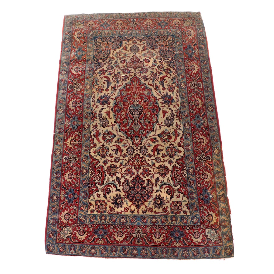 4'7 x 7'6 Hand-Knotted Persian Fereghan Wool and Silk Area Rug