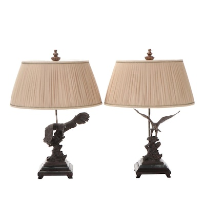 Eagle Patinated Metal and Marble Table Lamps