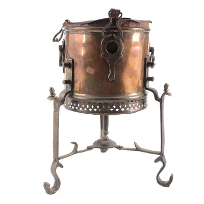 Middle Eastern Copper and Brass Brazier on Metal Stand