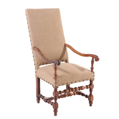 Renaissance Style Walnut Armchair, Early 20th Century