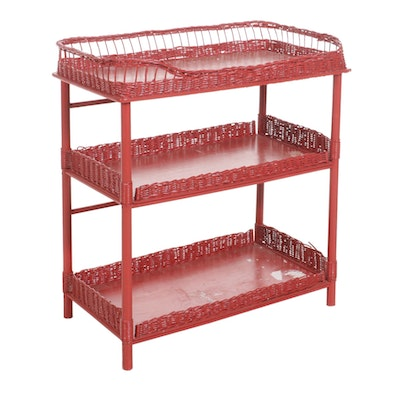 Red-Painted Wood and Wicker Changing Table, Mid-20th Century