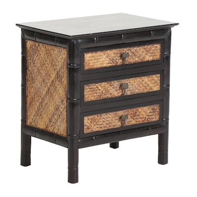 Small Ebonized Faux Bamboo and Rattan Chest of Drawers, 21st Century