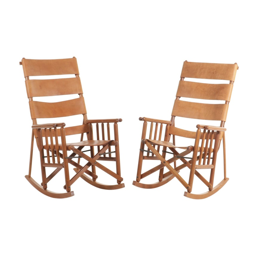 Pair of Collapsible Rocking Chairs with Leather Strap Upholstery, 21st Century