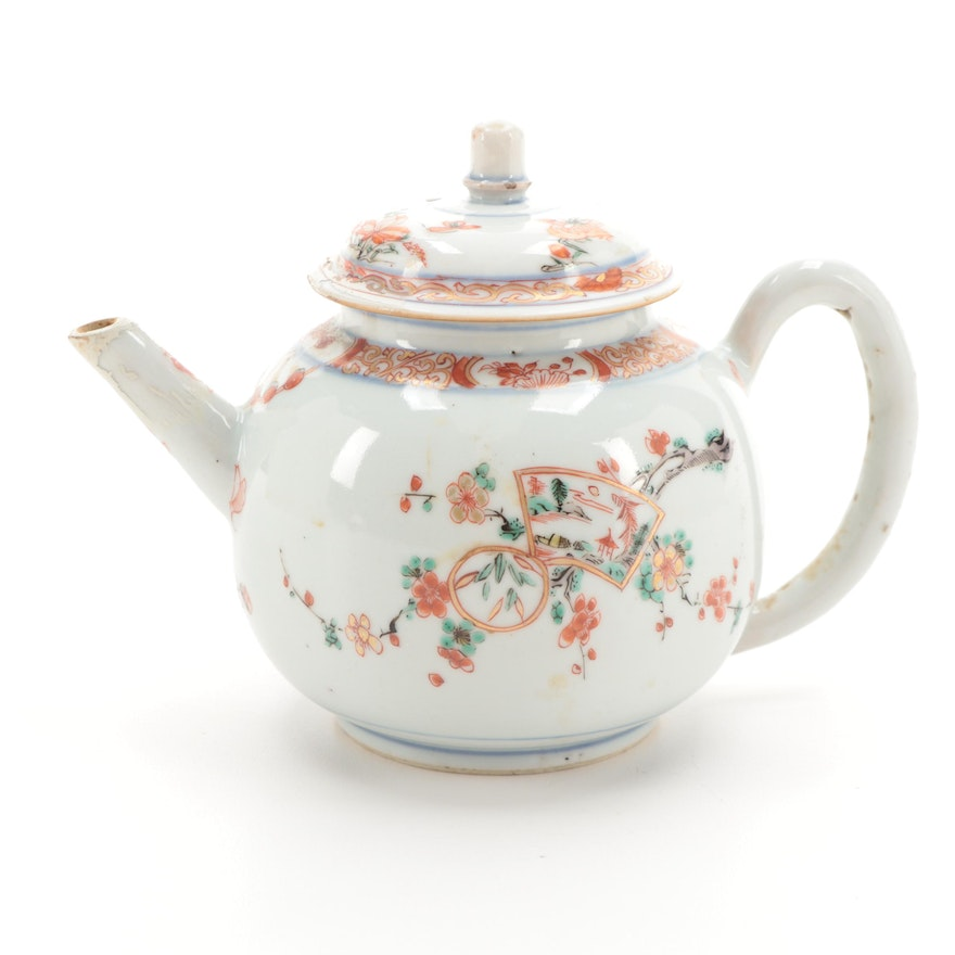 Chinese Export Lowesoft Style Hand-Painted Porcelain Teapot, Antique