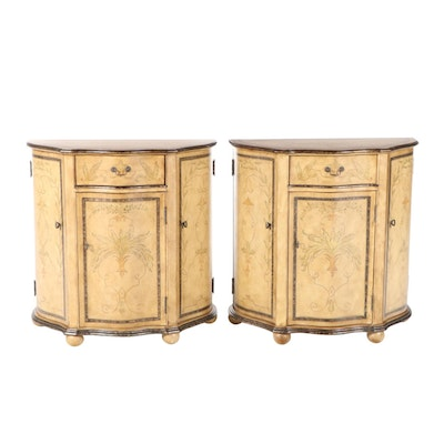 Pair of Rococo Style Paint-Decorated and Parcel-Gilt Serpentine Side Cabinets