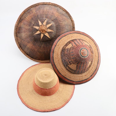 Peule Hand-Woven Herdsman Hat, Thai Basketry Hat and a Woven Sunhat